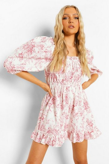 Red Porcelain Print Puff Sleeve Ruched Playsuit
