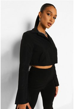 Black Cropped Shirt, Schwarz