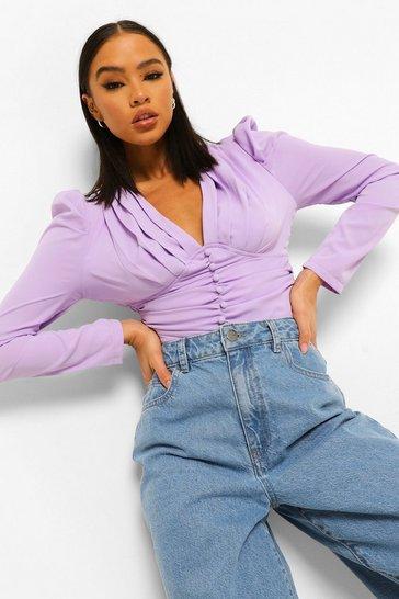 Lilac purple Purple Button Up Ruched Blouse