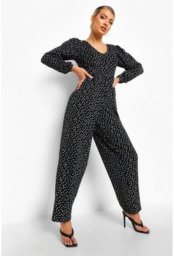 Black Polka Dot Wide Leg Smock Jumpsuit