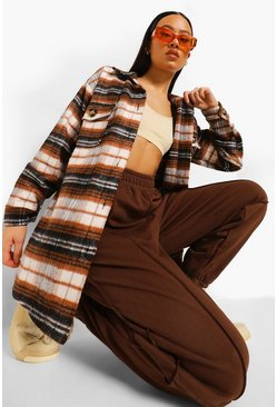 Tobacco Oversized Check Shacket