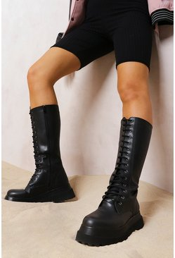 Black Knee High Chunky Hiker Boots