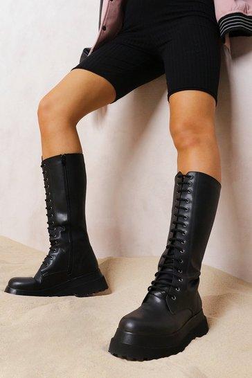 Black Knee High Chunky Hiker Boots