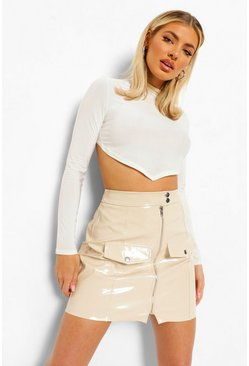 Ecru white Leather Look Popper Detail Zip Mini Skirt