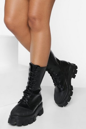 Black Chunky Contrast Sole Calf High Hiker Boots