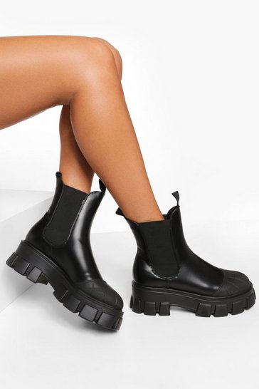 Black Chunky Contrast Sole Chelsea Boots