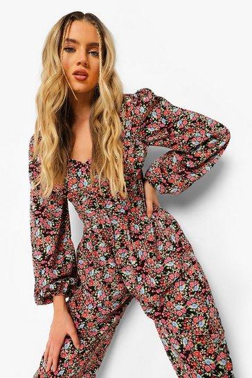 Black Floral Pleat Detail Culotte Jumpsuit