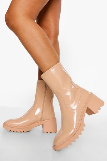 Nude Cleated Sole Patent Block Heel Boots