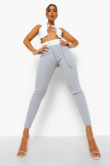 Grey Official Thick Ribbed Leggings