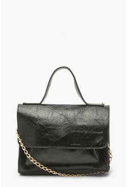 Black Patent Double Pocket Mini Cross Body Bag