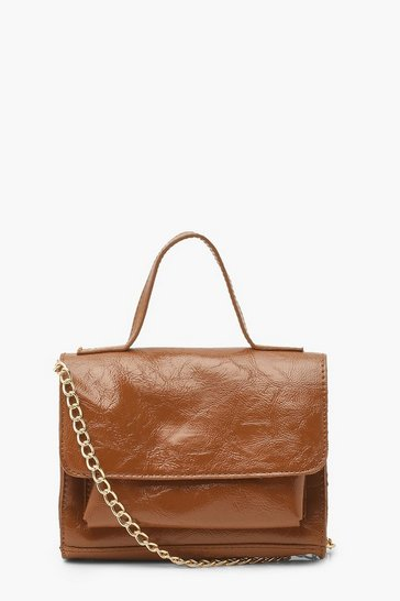 Chocolate brown Patent Double Pocket Mini Cross Body Bag