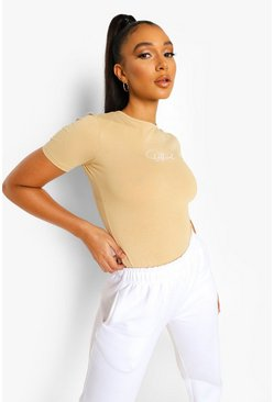 Sand beige Beige Official Fitted Cotton Bodysuit