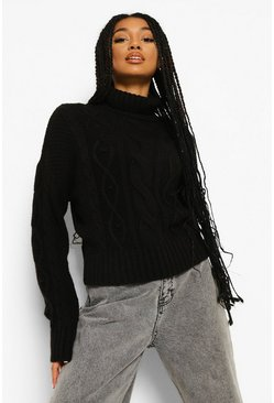 Black Heavy Cable Knit Roll Neck Jumper