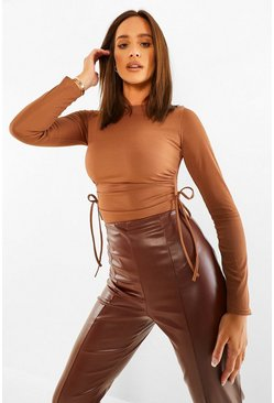 Chocolate brown Long Sleeve Rib Ruched Detail Bodysuit