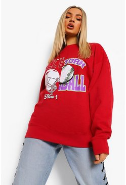 Red Spliced Varsity Oversized Sweatshirt