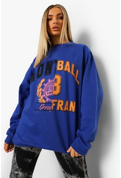 Cobalt blue Spliced Varsity Print Oversized  Sweatshirt