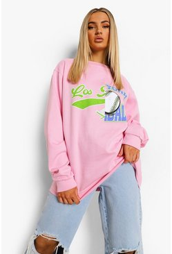 Pink Spliced Varsity Print Oversized  Sweatshirt