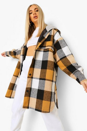 Stone beige Hooded Check Longline Shacket