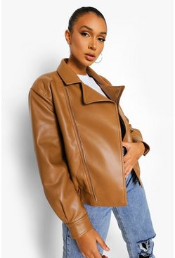 Tan brown Super Oversized Faux Leather Biker Jacket