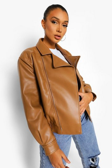 Tan brown Faux Leather Biker Jacket