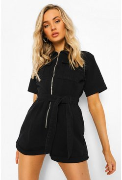 Black Belted Denim Utility Playsuit