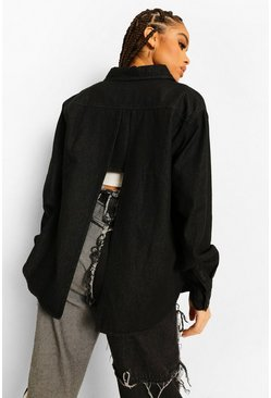Black Split Back Denim Shirt