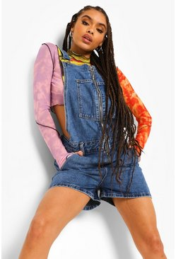 O Ring Zipped Denim Shorts Dungaree, Mid blue bleu