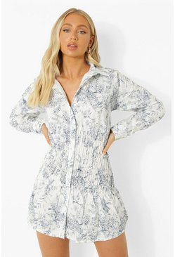 Blue Porcelain Print Shirred Shirt Dress