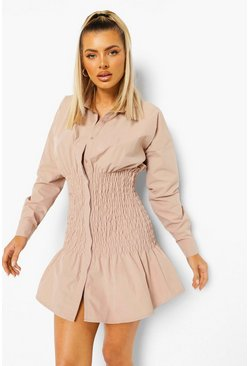 Light sand beige Shirred Shirt Dress