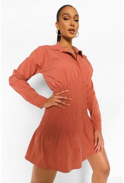 Spice orange Shirred Shirt Dress