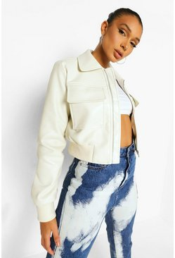 Cream white Crop Pocket Detail Faux Leather Bomber Jacket