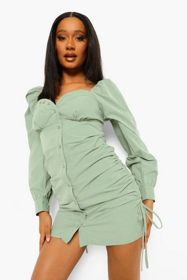 Sage green Sweetheart Ruched Side Shirt Dress