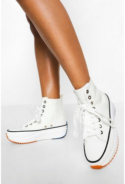White Cleated Sole High Top Trainers