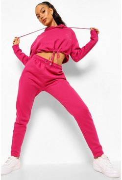 Pink Official Cropped Tie Hooded Tracksuit