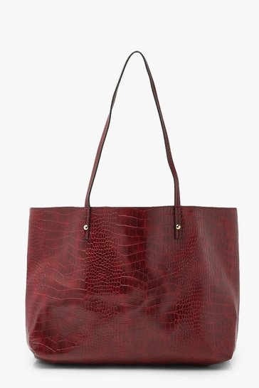 Burgundy red Soft Croc Tote Bag