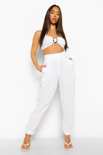 Ivory white Linen Pleat Front Relaxed Trousers