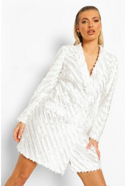 Ivory white Textured Tailored Blazer Dress