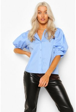 Powder Blue Volume Sleeve Shirt