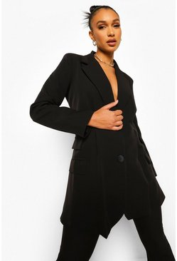 Black Pleat Detail Tailored Blazer