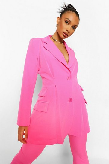 Bright pink pink Pleat Detail Tailored Blazer