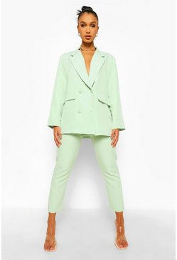 Sage green Belted Straight Leg Trousers