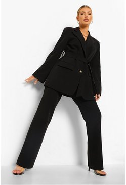 Black Pleat Front Slim Fit Trousers