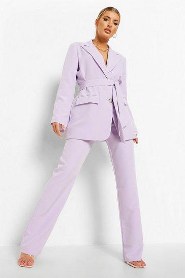 Lilac purple Pleat Front Slim Fit Trousers