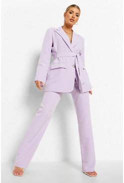 Lilac purple Pleat Front Slim Fit Trousers