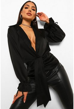 Black Knot Front Satin Shirt