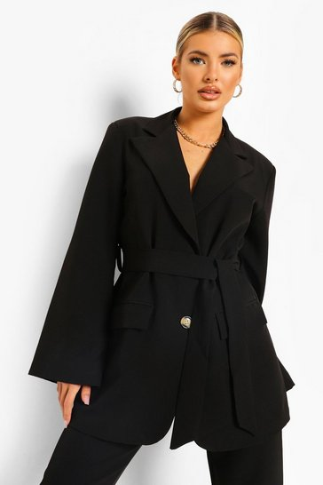 Black Wrap Front Tailored Blazer