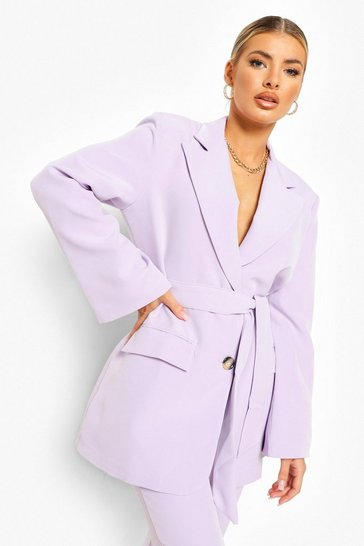 Lilac purple Wrap Front Tailored Blazer