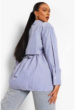 Blue Stripe Open Back Oversized Shirt