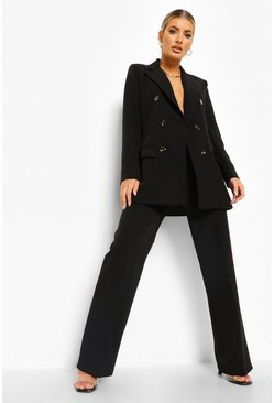 Black Pleat Front Straight Leg Trousers