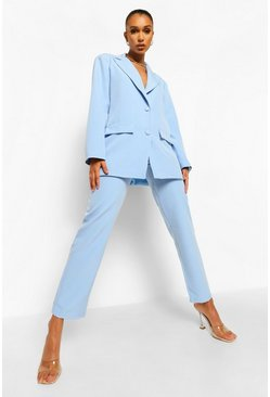 Dusty blue blue Relaxed Fit Tailored Trousers